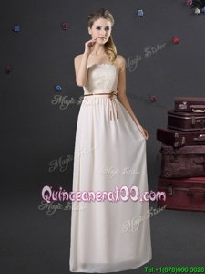 Stunning Empire Dama Dress White Strapless Chiffon Sleeveless Floor Length Lace Up