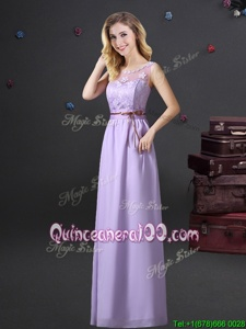 Perfect See Through Lavender Chiffon Lace Up Scoop Sleeveless Floor Length Dama Dress Lace and Appliques and Belt