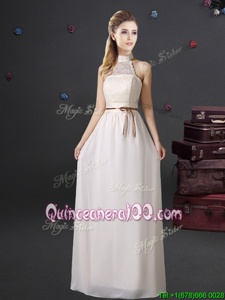 Halter Top Sleeveless Chiffon Quinceanera Court of Honor Dress Lace and Belt Lace Up