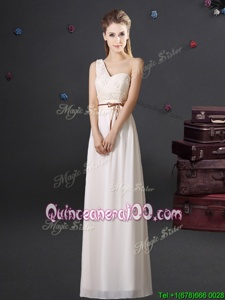 Edgy One Shoulder Floor Length Empire Sleeveless White Dama Dress Lace Up