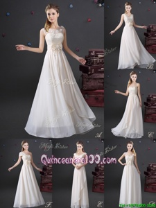 Custom Design White Sleeveless Lace and Appliques and Bowknot Floor Length Damas Dress
