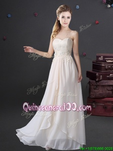 Vintage White Zipper Sweetheart Lace and Appliques Dama Dress for Quinceanera Chiffon Sleeveless