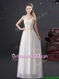 Top Selling Lace and Appliques and Bowknot Dama Dress for Quinceanera White Zipper Sleeveless Floor Length