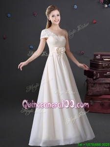 Fantastic White Chiffon Zipper One Shoulder Sleeveless Floor Length Quinceanera Dama Dress Lace and Bowknot