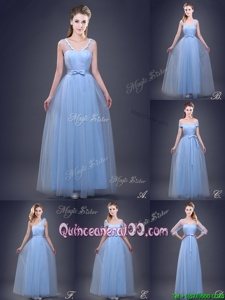 Most Popular Sleeveless Tulle Floor Length Lace Up Quinceanera Court Dresses inLight Blue forSpring and Summer and Fall and Winter withBeading and Appliques and Ruching and Bowknot and Hand Made Flower