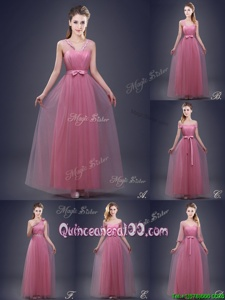 Lovely V-neck Sleeveless Lace Up Court Dresses for Sweet 16 Red Tulle