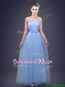 Exceptional Light Blue Lace Up Vestidos de Damas Appliques and Ruching and Bowknot Sleeveless Floor Length