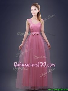 New Arrival Straps Straps Red Sleeveless Tulle Lace Up Dama Dress for Quinceanera forProm and Party and Wedding Party