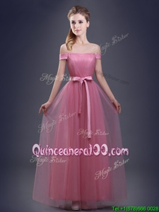 Latest Off the Shoulder Sleeveless Tulle Floor Length Lace Up Vestidos de Damas inRed forSpring and Summer and Fall and Winter withRuching and Bowknot