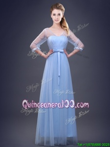 Ideal Light Blue V-neck Neckline Ruching and Bowknot Quinceanera Court of Honor Dress Half Sleeves Lace Up