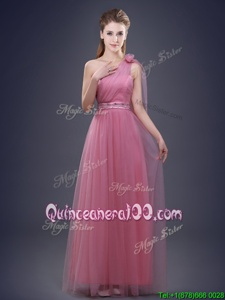 Stunning One Shoulder Floor Length Lace Up Vestidos de Damas Red and In forProm and Party and Wedding Party withBeading and Ruching and Hand Made Flower