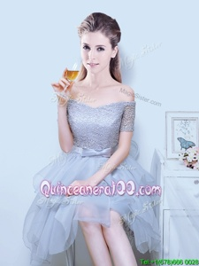 Enchanting Off the Shoulder Spring and Summer and Fall Organza Short Sleeves Asymmetrical Quinceanera Dama Dress andLace and Ruffles and Bowknot