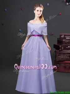 Off The Shoulder Half Sleeves Zipper Dama Dress for Quinceanera Lavender Chiffon