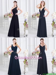 Sweet One Shoulder Ruching Quinceanera Court Dresses Navy Blue Side Zipper Sleeveless Floor Length