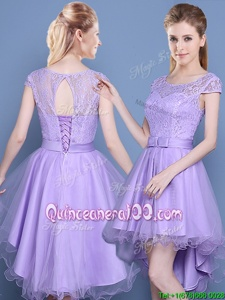 Perfect Satin and Tulle Scoop Cap Sleeves Lace Up Lace Quinceanera Dama Dress inLavender and Purple