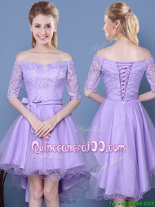 Graceful Lavender A-line Taffeta and Tulle Off The Shoulder Half Sleeves Lace and Bowknot High Low Lace Up Dama Dress for Quinceanera