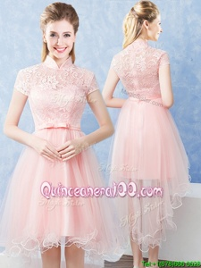 Chic Lace and Belt Quinceanera Court of Honor Dress Baby Pink Zipper Short Sleeves High Low
