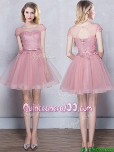 Inexpensive Scoop Pink Short Sleeves Appliques and Belt Mini Length Dama Dress