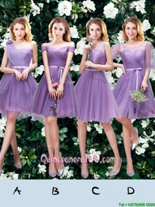 Lovely One Shoulder Sleeveless Lace Up Dama Dress Lavender Tulle