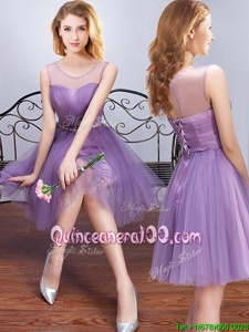 Lavender Tulle Lace Up Scoop Sleeveless Mini Length Dama Dress for Quinceanera Beading and Ruching and Belt