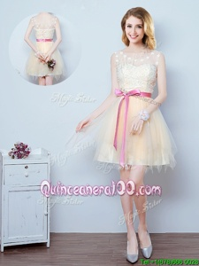 Custom Design Scoop Sleeveless Mini Length Lace and Appliques and Ruffles and Bowknot Lace Up Court Dresses for Sweet 16 with Champagne