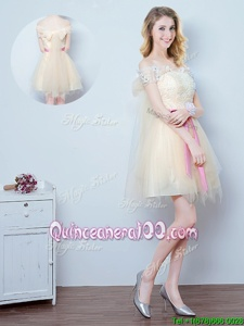 Attractive Off The Shoulder Short Sleeves Dama Dress for Quinceanera Mini Length Lace and Appliques and Ruffles and Bowknot Champagne Tulle