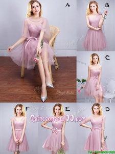Sweet Scoop Ruffles and Ruching and Bowknot and Hand Made Flower Damas Dress Pink Lace Up Sleeveless Mini Length