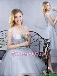 Glamorous Scoop Lace and Appliques and Belt Quinceanera Court of Honor Dress Grey Lace Up Sleeveless Knee Length