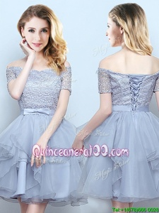 Romantic Mini Length Grey Quinceanera Dama Dress Off The Shoulder Short Sleeves Lace Up