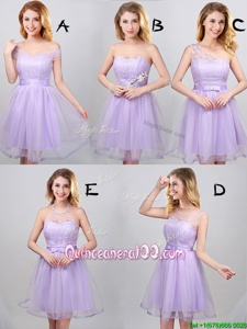 Hot Selling Lavender Off The Shoulder Neckline Lace and Appliques and Belt Quinceanera Dama Dress Sleeveless Lace Up