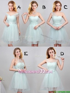 Trendy Mini Length Apple Green Quinceanera Court Dresses Off The Shoulder Sleeveless Lace Up