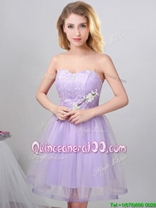 Flare Lavender A-line Beading Vestidos de Damas Lace Up Tulle Sleeveless Knee Length
