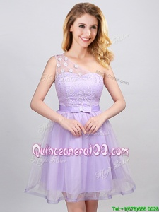 One Shoulder Sleeveless Lace and Appliques and Belt Lace Up Quinceanera Dama Dress