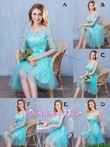 Free and Easy Scoop Sleeveless Tulle Knee Length Lace Up Quinceanera Court of Honor Dress inAqua Blue forSpring and Summer and Fall withLace and Appliques and Bowknot