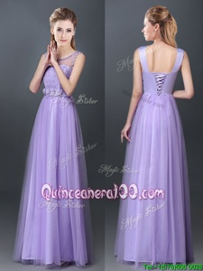 Trendy Scoop Sleeveless Tulle Dama Dress for Quinceanera Lace and Hand Made Flower Lace Up