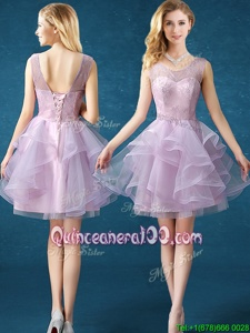 Luxury Lavender Organza and Tulle Lace Up Scoop Sleeveless Knee Length Court Dresses for Sweet 16 Lace