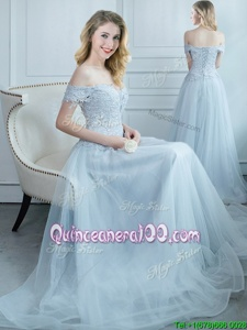 Custom Designed Off the Shoulder Light Blue Empire Beading and Appliques Court Dresses for Sweet 16 Lace Up Tulle Cap Sleeves Floor Length