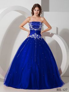 Royal Blue Strapless Dress for Quince with Beading and Appliques