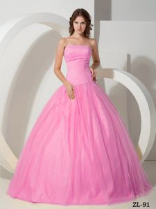 Pink Ball Gown Beading Tulle Dresses for a Quinceanera Wholesale