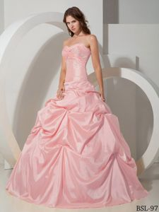 2014 Beading Sweetheart Pick-ups Quinces Dresses in Baby Pink
