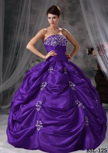 Purple Ball Gown Ruched Appliques Quince Dresses with Pick-ups