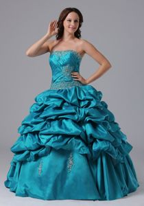 Teal Pick-ups Appliques Quince Dresses with Beaded Ruche Bodice