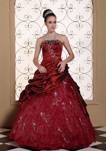 Wine Red Pick-ups Embroidery Quinceanera Party Dress in Fashion