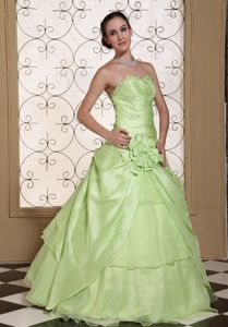 Customize Beading Sweetheart Yellow Green Dresses for Sweet 16