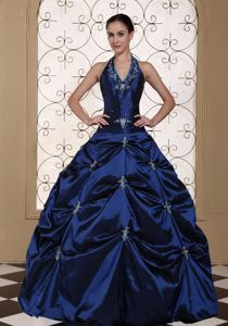 Halter Top Appliques Beaded Pick-ups Quince Dress in Navy Blue