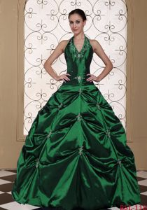Dark Green Halter Top Pick-ups Dresses for a Quince with Beading