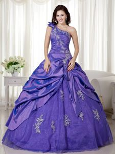 Taffeta and Organza One Shoulder Sweet 15 Dress with Appliques