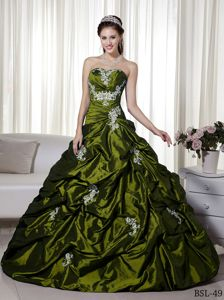 New Olive Green Appliques Quinceanera Party Dress with Pick-ups