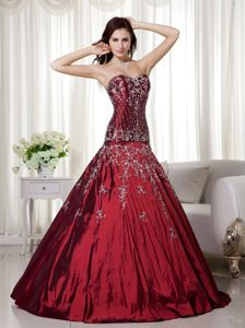 Affordable Wine Red Taffeta Dresses for a Quince with Embroidery