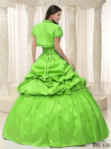 Cheap Sweetheart Spring Green Sweet Sixteen Dress with Appliques